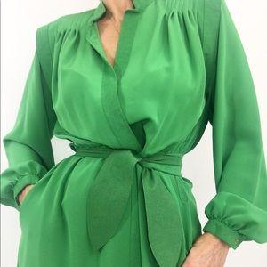 Vintage Lilli Ann Ultra Suede Green Day Dress